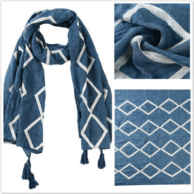 Women Scarf Cotton Tassel Scarves Stylish Geometric Embroidered Large Shawl BS