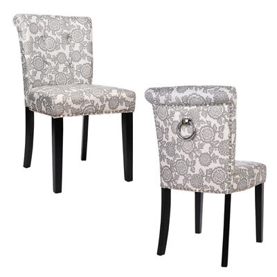 2 X Floral Fabric Dining Chairs Side Chair Dressing Table Chair Roll Top Back Uk