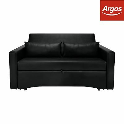 Argos Home Reagan 2 Seater Faux Leather Sofa Bed - Black