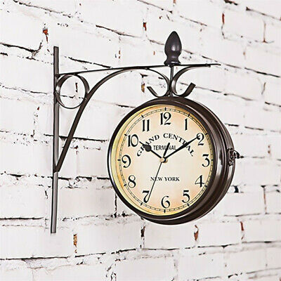Vintage Round Iron Wall Hanging Clock Double Sided Indoor Outdoor Garden Antique