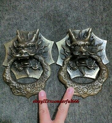 A Pair Classical Folk Rare Chinese old copper dragon door knocker Bells