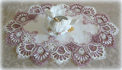 "Doily Delicate Trim Lace Misty Mauve Placemat Dresser Scarf  22""  Table Runnner"