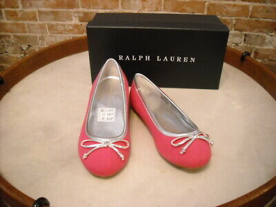 Polo Ralph Lauren Allie Pink Canvas Ballet Flats Big Kids Girls 5 NEW