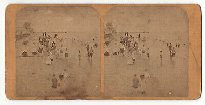 MARTHA'S VINEYARD Stereoview OAK BLUFFS Bathers BEACH Swimming PIER Bathing
