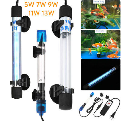 Aquarium UV Light Sterilizer Pond Fish Tank Germicidal Lamp Submersible Clean RK