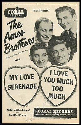 1951 Ed Ames Brothers photo My Love Serenade song release BIG music trade ad
