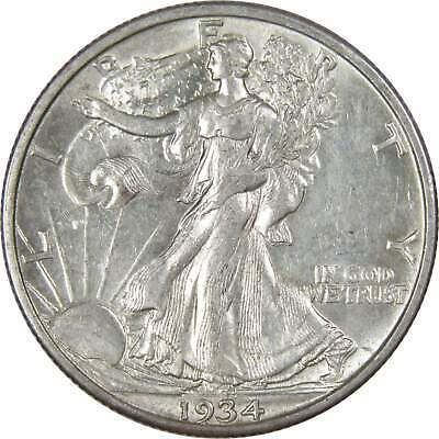1934 S 50c Liberty Walking Silver Half Dollar US Coin AU About Uncirculated