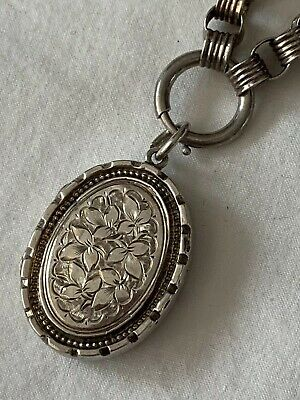 Victorian Antique Silver Oval Locket And Chain