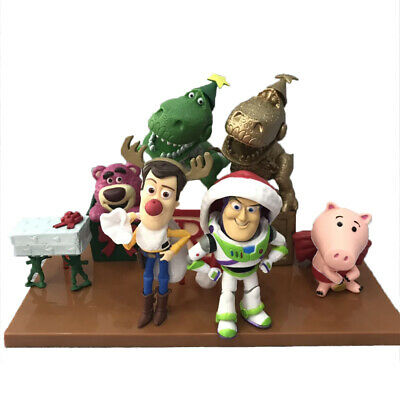 7Pcs Disney Christmas Edition Toy Story Buzz Lightyear Woody Action Figure Toys