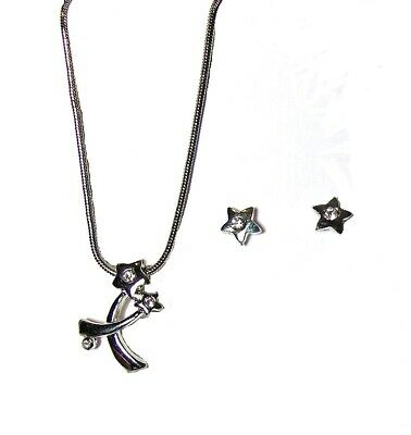 Silver Diamante Crystal Star Necklace Earrings Set Girls Dress Jewelry Gift Box