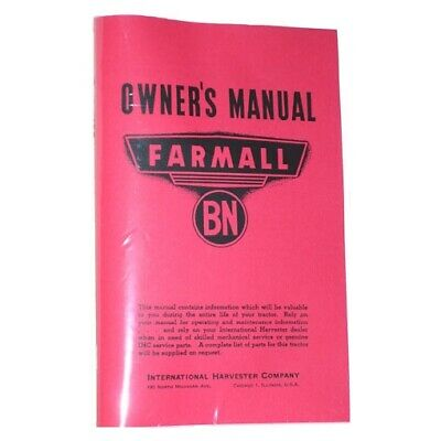 FARMALL McCORMICK BN Tractor Owners Operators Manual Book IH