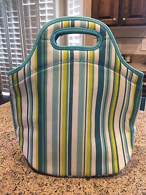 Tupperware Insulated Lunch Bag Striped Green, Blue, White Zipper 13 x 13 x 7 New