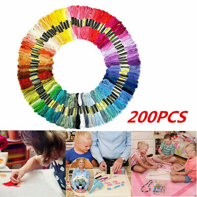 200X Mix Colors Cross Stitch Cotton Sewing Skeins Embroidery Thread Floss Kit AU