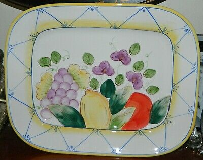 VINTAGE 1970s Fruit  Glazed Ceramic Retro Serving Platter Tray