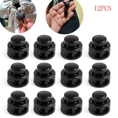 Button Clip Black 2 Hole Shoelace Cord Spring Buckle Plastic Spring Toggle