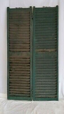 "Antique Victorian Pair Wood Shutters Peg,Mortise & Tenon 15""X 57"" Architectural"