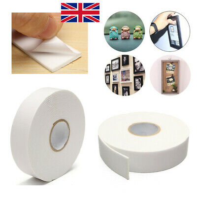 2x Self Adhesive Strong Double Sided White FOAM Sticky Tape Padded Mounting DIY