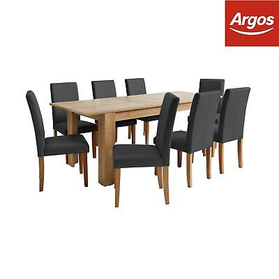 Argos Home Miami Extendable XL Dining Table &8 Chairs -Black