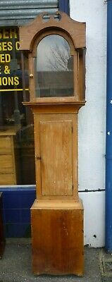 Antique Pine Longcase Grandfather Clock Case To Fit 17ins By 12ins Dial