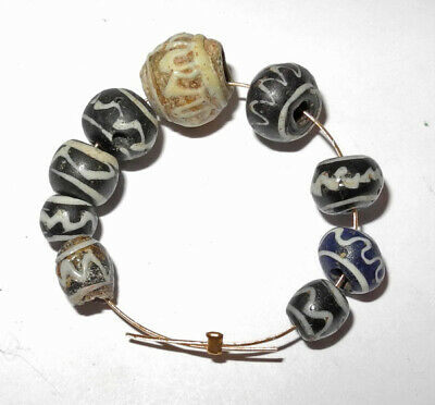 9 ROMAN to BYZANTINE ERA - ANCIENT GLASS BEADS - circa 400 AD - Wave pattern