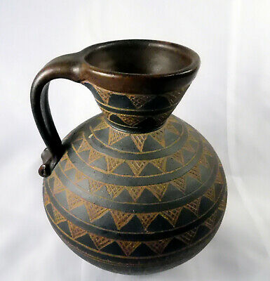 DD Tinsman Pottery Handle Vase Pot 1991 Tribal Style Deborah Tinsman
