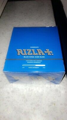 Full Box of 50 Rizla King Size Blue Slim Rolling Cigarette Papers