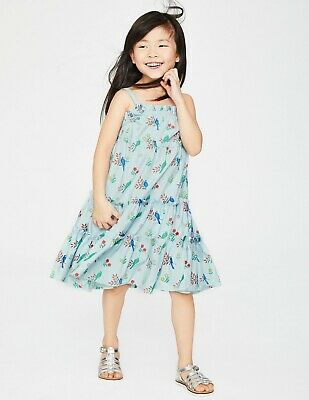 NEW RRP £45 Mini Boden Twirly Woven Dress - Pale Blue Beautiful Birds (U15)