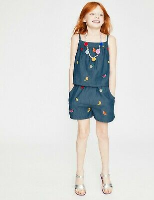 NEW RRP £45 Mini Boden Fun Layered Playsuit - Indigo Blue/Fruits (U15)