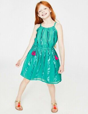 NEW RRP £45 Mini Boden Shimmer Stripe Dress - Sea Breeze Green (U9)