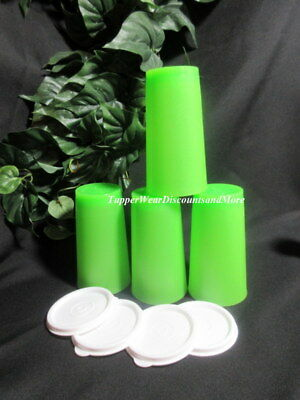 Tupperware New Set of 4 11 ounce Bright Green Stacking Tumblers White Seals