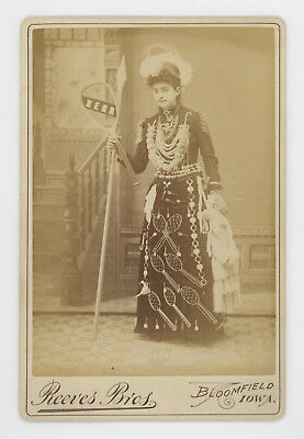 BANNER LADY WEARING TENNIS RACQUETS AD CABINET PHOTO 1880's-1890's, FANTASTIC!!!