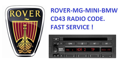 BMW ROVER MG MINI CD43 BLAUPUNKT  Radio Unlock Code. The same day service