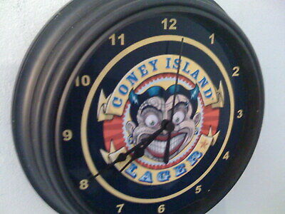 Coney Island New York Beer Bar Man Cave Advertising Black Wall Clock Sign