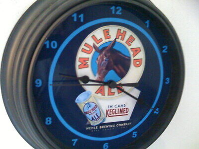 Mulehead Ale Beer Bar Man Cave Advertising Black Wall Clock Sign