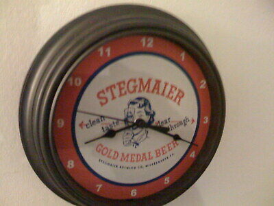 Stegmaier Beer Bar Man Cave Advertising Black Wall Clock Sign