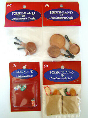 Dollhouse Miniature Kitchen Items Grocery Bags Soda Pots Pans NEW