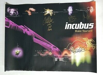 INCUBUS REAL hand SIGNED 18x24 Make Yourself Poster #1 COA all 5 Brandon Boyd +4