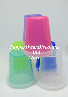 Tupperware New 6 Multi  Color Midget Midgets Minis Small Containers Sheer Seals