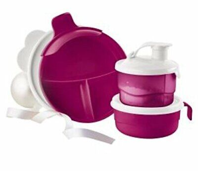 Tupperware New Baby Stages Feeding Set Divided Dish Cup Fuchsia Pink & White
