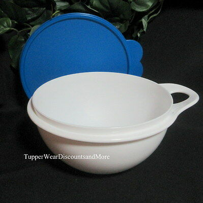 Tupperware NEW THATSA Mixing Storage Serving White Bowl Small 6 Cup Blue Seal