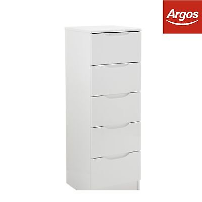 Legato 5 Drawer Tallboy Chest - White Gloss