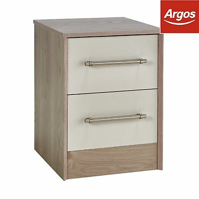 Victoria 2 Drawer Bedside Chest - Grey Cashmere