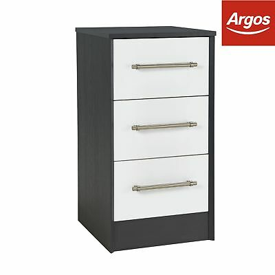 Victoria 3 Drawer Bedside Chest - Graphite and White Gloss