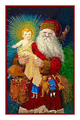 Victorian Father Christmas Santa Claus #36 Counted Cross Stitch Chart Pattern