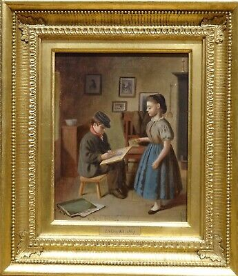 19th Century English Children The Young Artist Antique Oil Painting E S GREIG