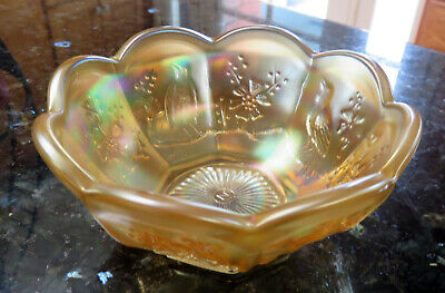 Northwood SINGING BIRDS Pastel Marigold Carnival Glass Sauce Berry Bowl c. 1908