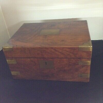 Antique Victorian Sloping Writing Box Brass Hardware - Secretary