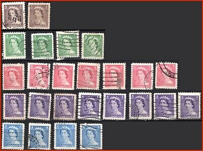 Canada Stamp Used Definitives Queen Elizabeth II 1953 #325-329 (24 stamps) (387)