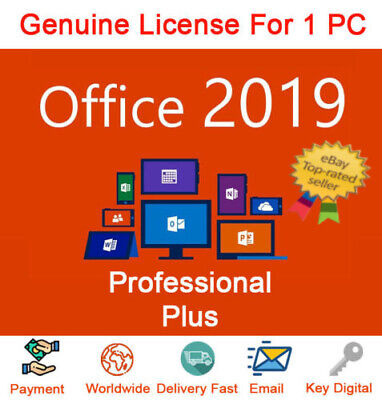 Microsoft Office 2019 Pro Plus 32/64 Bit Lifetime License Genuine Key For 1Pc