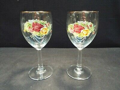 "Set of (4) Royal Albert Old Country Roses 7 1/4"" Goblets 12 oz"
